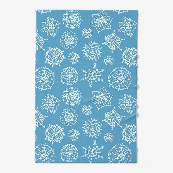 Полотенце «Новогодние снежинки (голубой фон)»