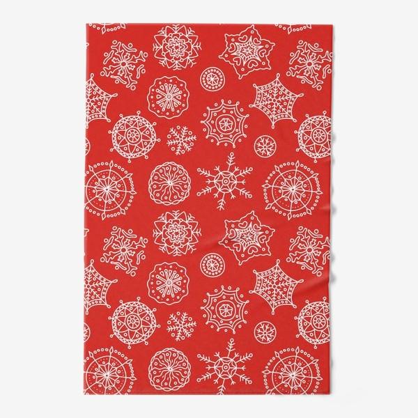 Полотенце «Новогодние снежинки (красный фон)»