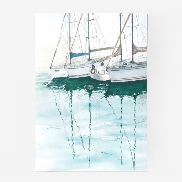 Постер «Морская серия: Яхты в порту»
