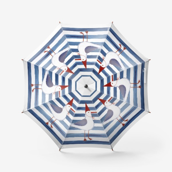 Зонт «Чайка на полосатом фоне в красном колпаке.»