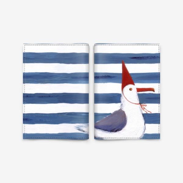 Обложка для паспорта «Чайка на полосатом фоне в красном колпаке.»