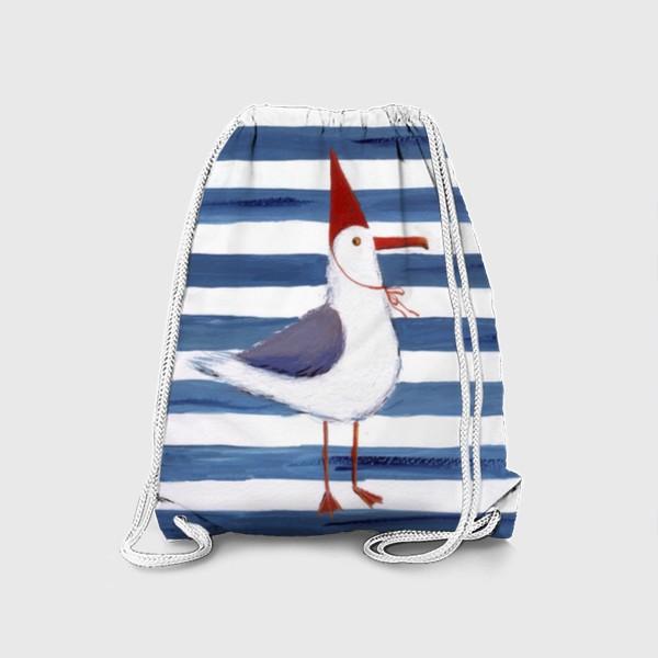 Рюкзак «Чайка на полосатом фоне в красном колпаке.»