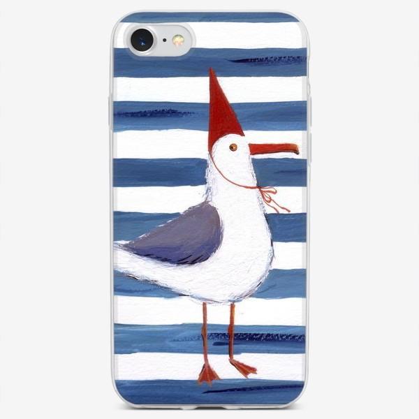 Чехол iPhone «Чайка на полосатом фоне в красном колпаке.»
