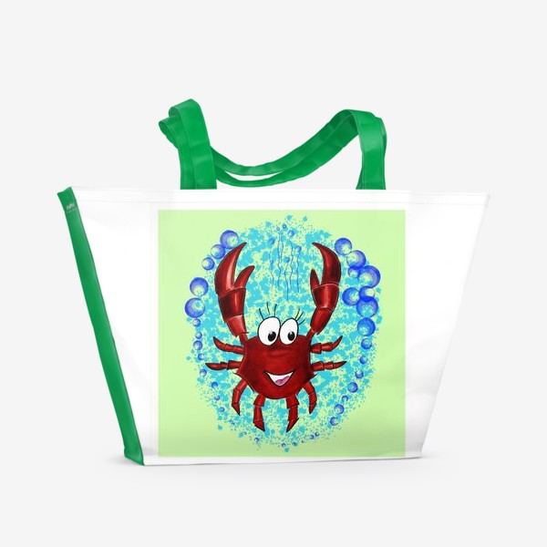 Пляжная сумка «В подарок раку. В пузырях воды. Радость погружения»