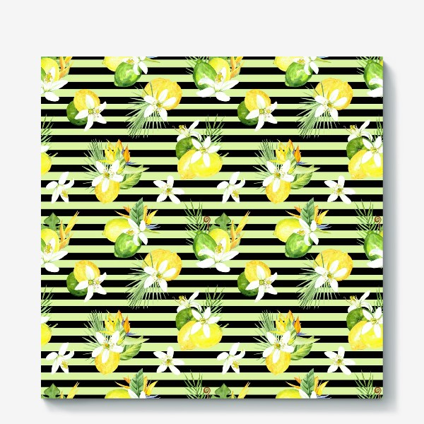 Холст «Акварельный  паттерн лимон, лайм,тропические листья, италия лето»