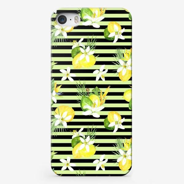 Чехол iPhone «Акварельный  паттерн лимон, лайм,тропические листья, италия лето»