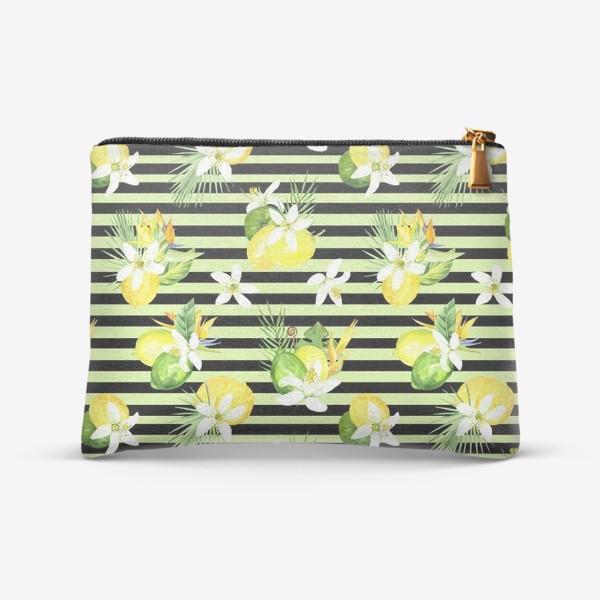 Косметичка «Акварельный  паттерн лимон, лайм,тропические листья, италия лето»