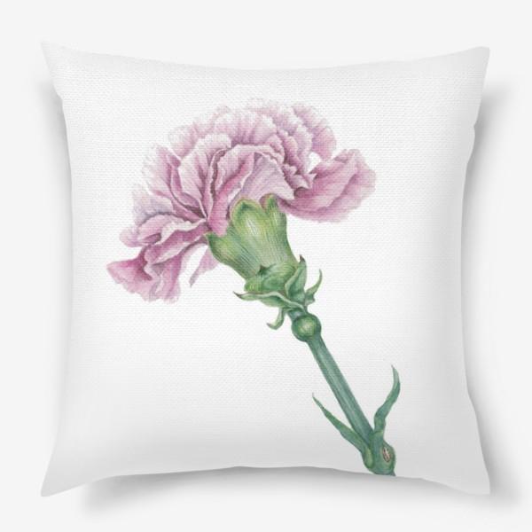 Подушка «Розовая гвоздика ветка Carnation»