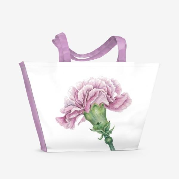Пляжная сумка «Розовая гвоздика ветка Carnation»