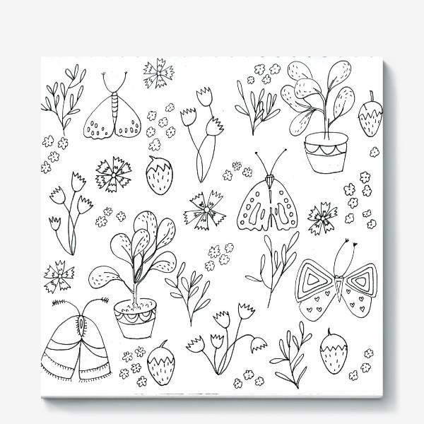 Холст «Ботаническая иллюстрация в чб»