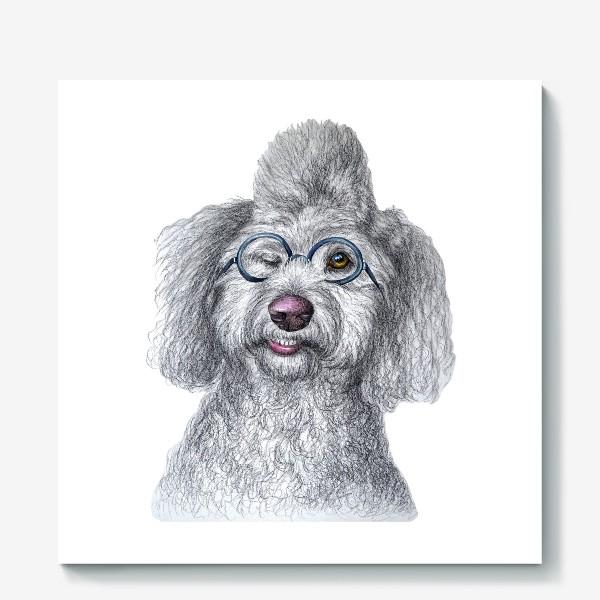 Холст «Собака в очках»