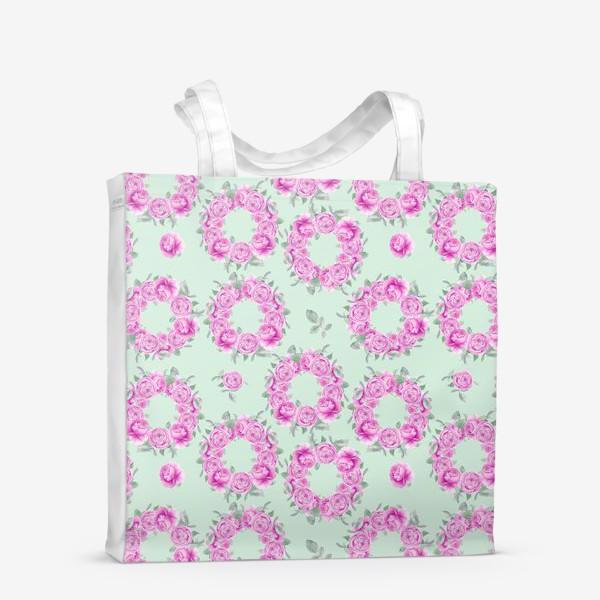 Сумка-шоппер «Розовые розы, летний цветочный акварельный принт на зеленом фоне»