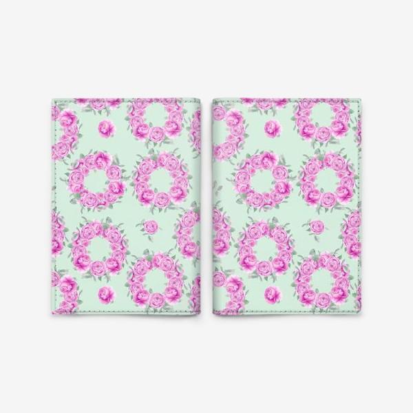 Обложка для паспорта «Розовые розы, летний цветочный акварельный принт на зеленом фоне»