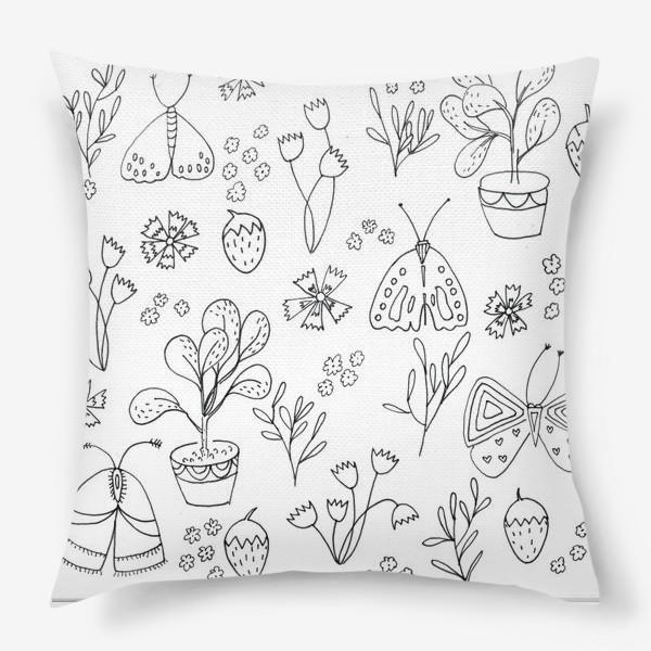 Подушка «Ботаническая иллюстрация в чб»