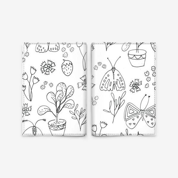 Обложка для паспорта «Ботаническая иллюстрация в чб»