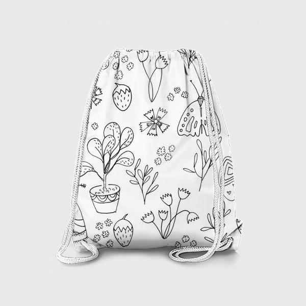 Рюкзак «Ботаническая иллюстрация в чб»