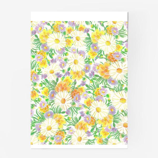 Постер «Ромашки и полевые цветы. Пастель»