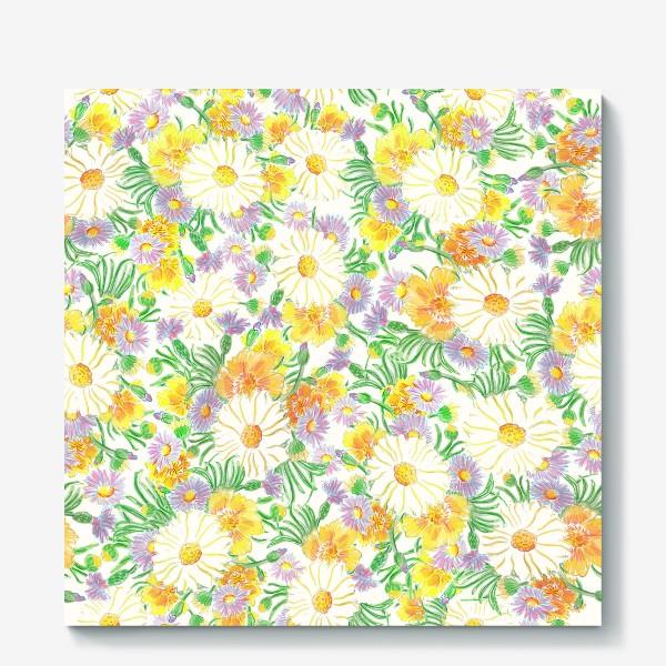 Холст «Ромашки и полевые цветы. Пастель»