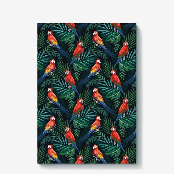 Холст «Тропический паттен с попугаями и пальмовыми листьями»
