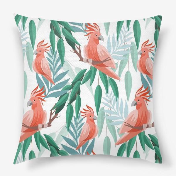 Подушка «Тропический паттерн с какаду и листьями»