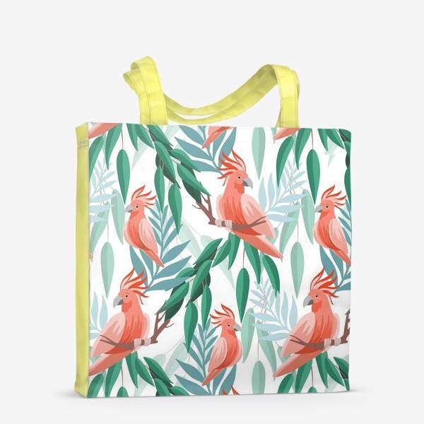 Сумка-шоппер «Тропический паттерн с какаду и листьями»