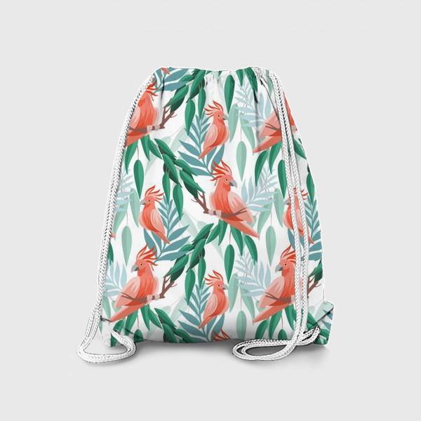 Рюкзак «Тропический паттерн с какаду и листьями»