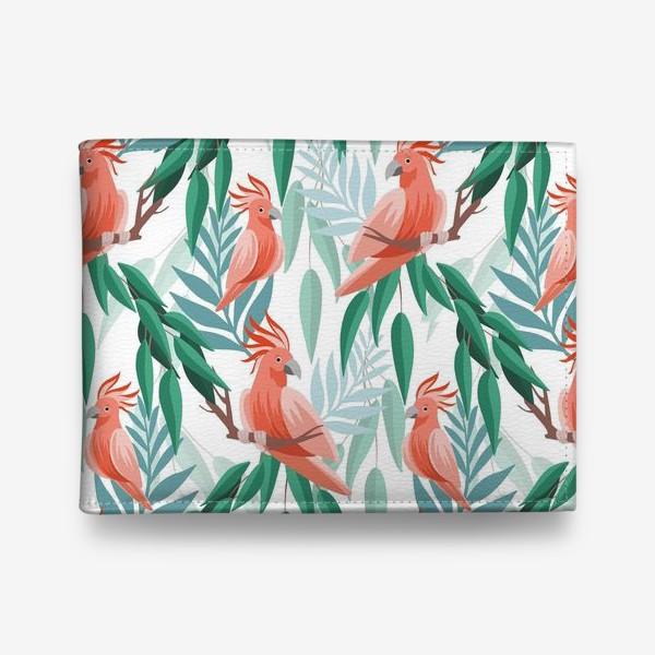 Кошелек «Тропический паттерн с какаду и листьями»