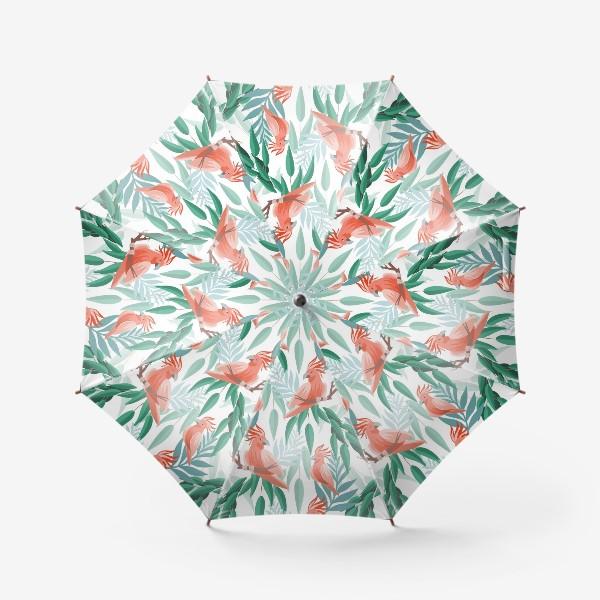 Зонт «Тропический паттерн с какаду и листьями»
