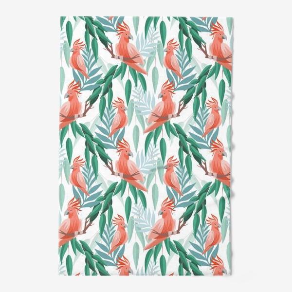 Полотенце «Тропический паттерн с какаду и листьями»