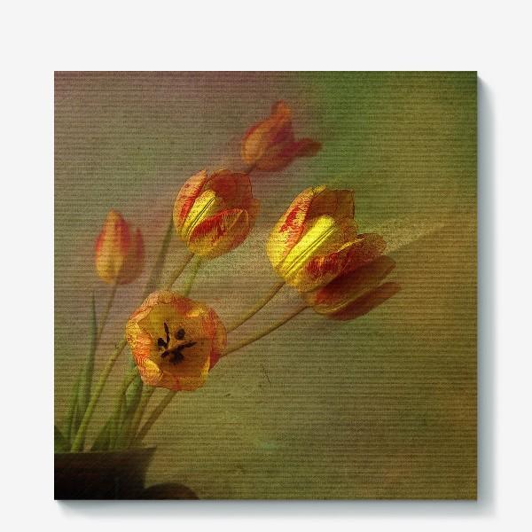 Холст «Тюльпаны и солнечный луч»