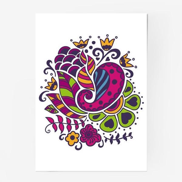 Постер «Цветочный сиренево-зеленый узор»