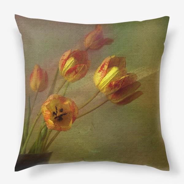 Подушка «Тюльпаны и солнечный луч»