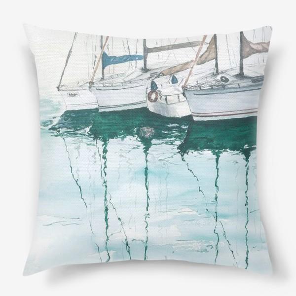 Подушка «Морская серия: Яхты в порту»