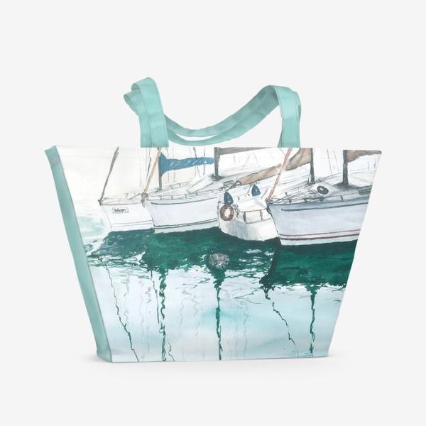 Пляжная сумка «Морская серия: Яхты в порту»