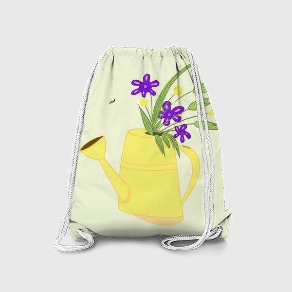 Рюкзак «Лейка с цветами. Подарок бабушке. Подарок дачнице, садоводу»