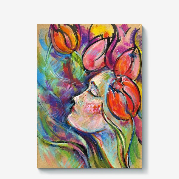 Холст «Девушка тюльпан»