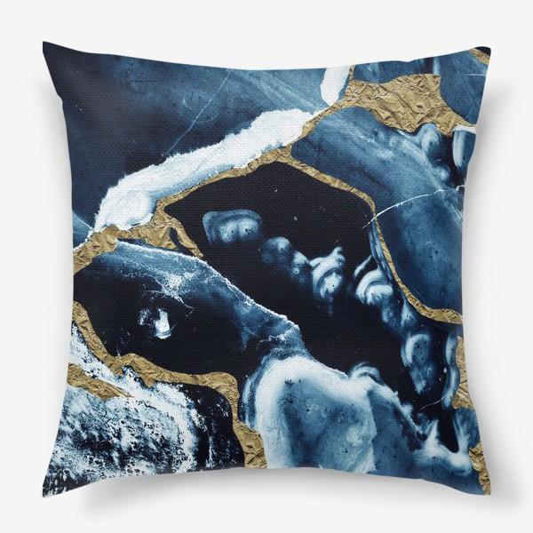 Подушка «Абстракция Темно синий разводы»