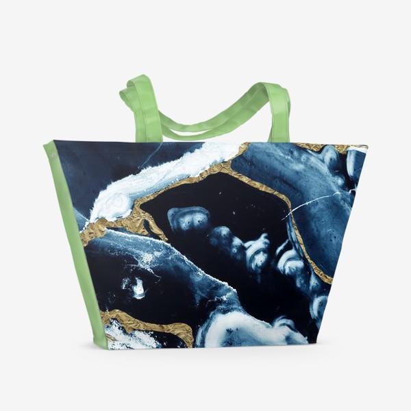 Пляжная сумка «Абстракция Темно синий разводы»