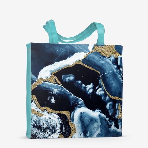 Сумка-шоппер «Абстракция Темно синий разводы»