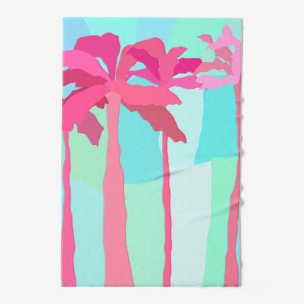 Полотенце «Абстракция Пальмы летний принт мятный розовый»