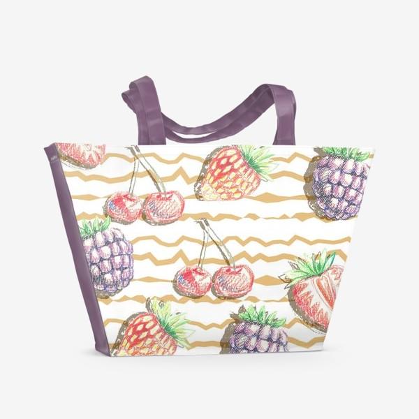 Пляжная сумка «Фрукты, нарисованные карандашом»