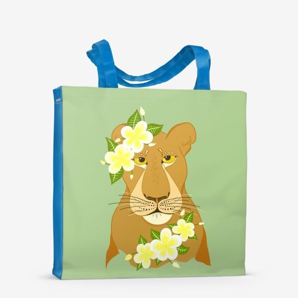 Сумка-шоппер «Львица с цветами франжипани»