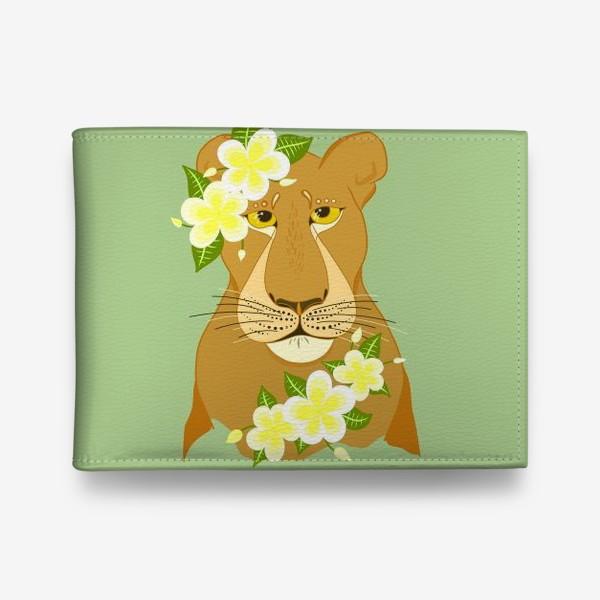 Кошелек «Львица с цветами франжипани»