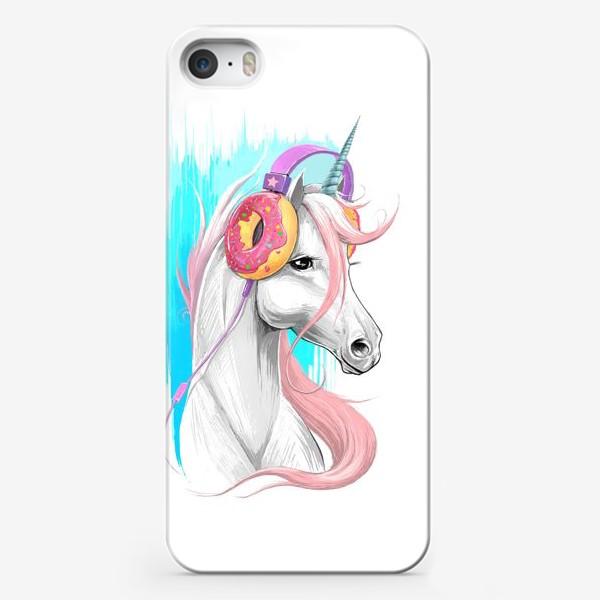 Чехол iPhone «Единорог в наушниках»