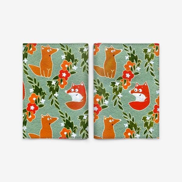 Обложка для паспорта «Лисички в цветочных лентах»