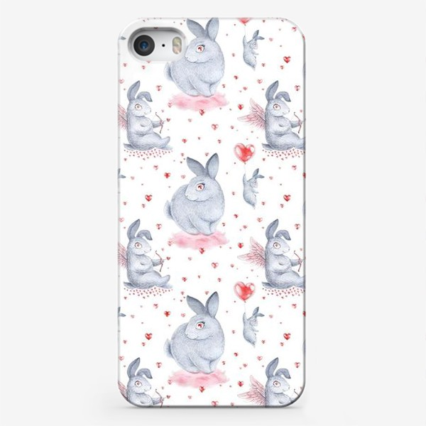 Чехол iPhone «Влюбленные зайцы2 (заяц, кролик, любовь, сердце)»