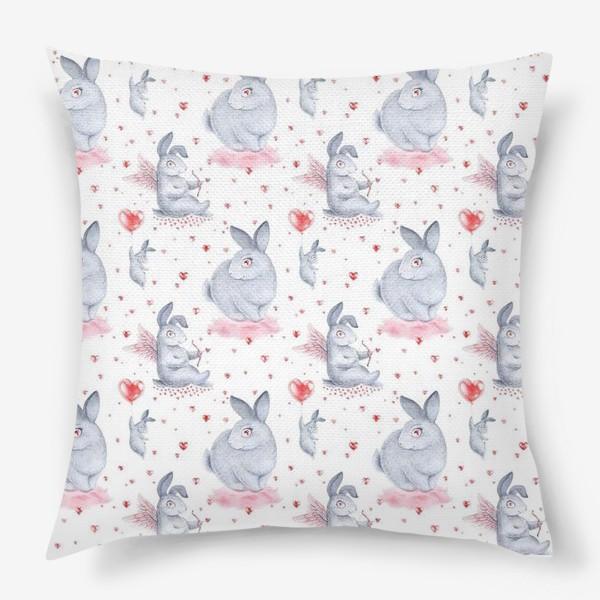 Подушка «Влюбленные зайцы2 (заяц, кролик, любовь, сердце)»