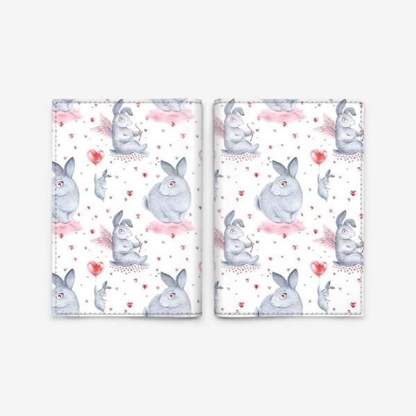 Обложка для паспорта «Влюбленные зайцы2 (заяц, кролик, любовь, сердце)»