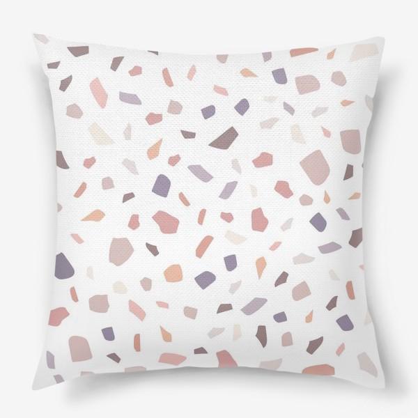 Подушка «Венецианский терраццо. Абстрактный паттерн в пастельных тонах.»