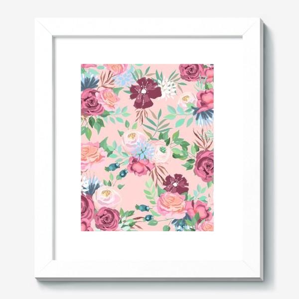 Картина «Цветочный принт на розовом фоне»